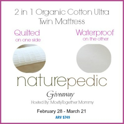 Naturepedic 2 in 1 Organic Ultra Twin Mattress Giveaway ARV $749