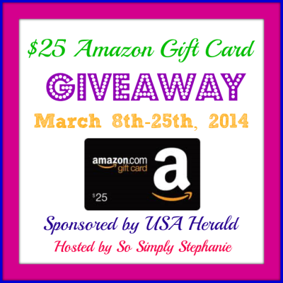 $25 Amazon GC Giveaway March 8-25