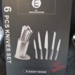 6 Piece Knife Set with Square Stand by El Perfecto