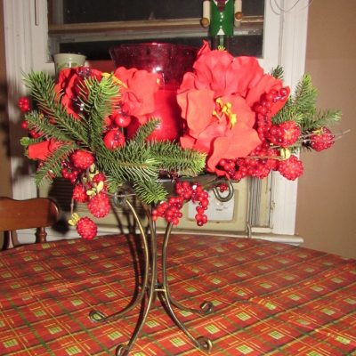 Silk Plants Direct Amaryllis Candle Holder Centerpiece