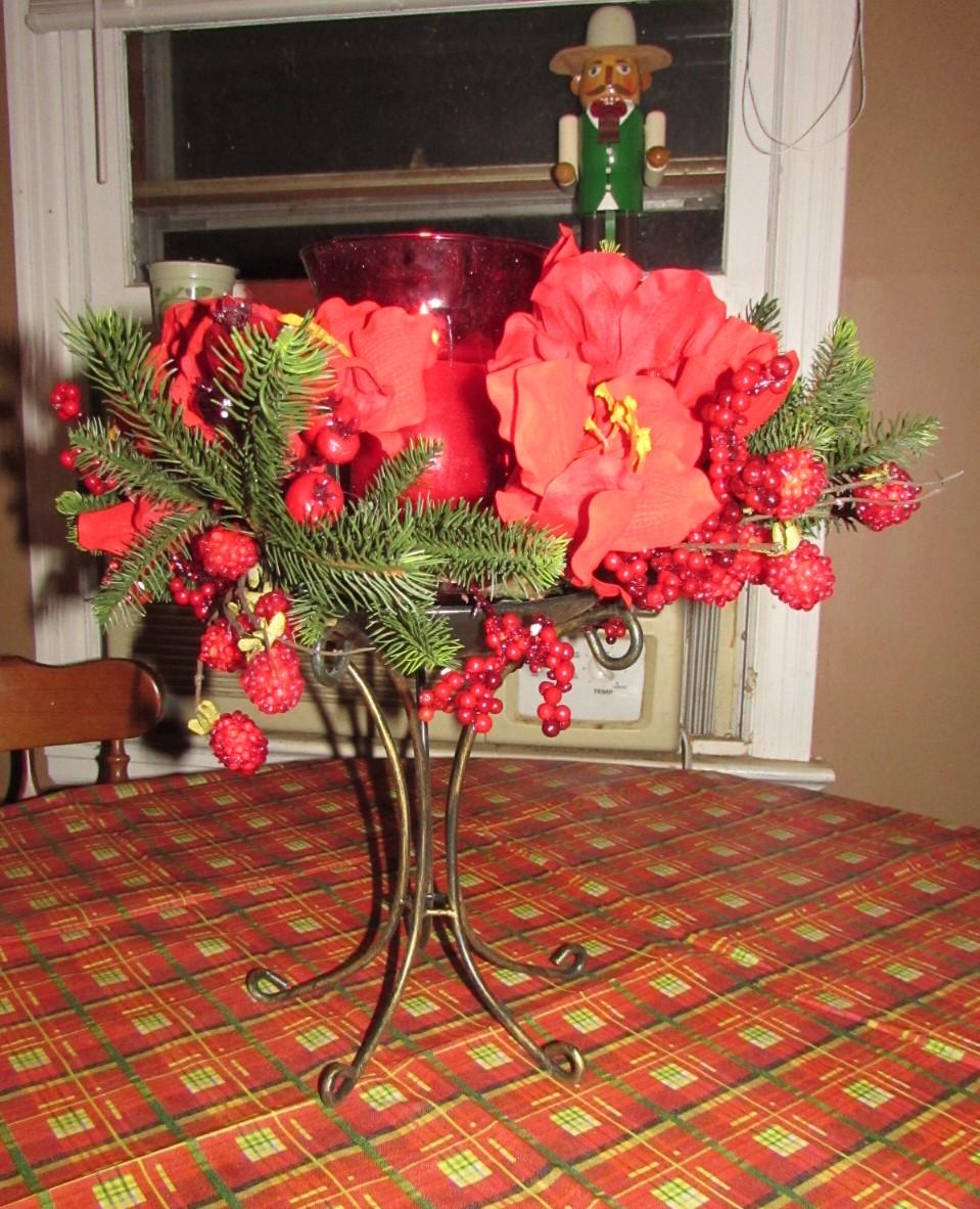 Silk Plants Direct Amaryllis Candle Holder Centerpiece